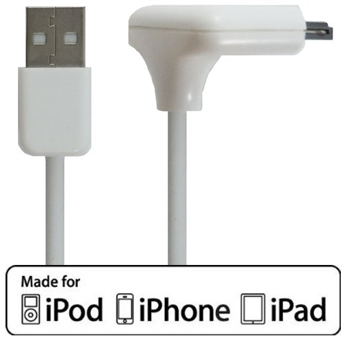 RND Apple Certified RIGHT ANGLE Cable for iPad iPhone iPod (3 feet/white)