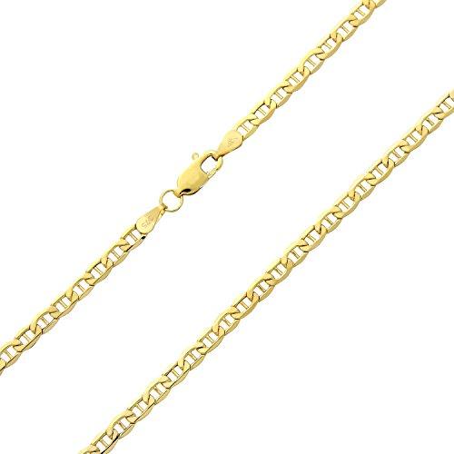 Revoni Bague en or jaune 9carats-Fine chaîne d'ancre de 45,7cm/46cm Longueur et largeur: 0,3cm
