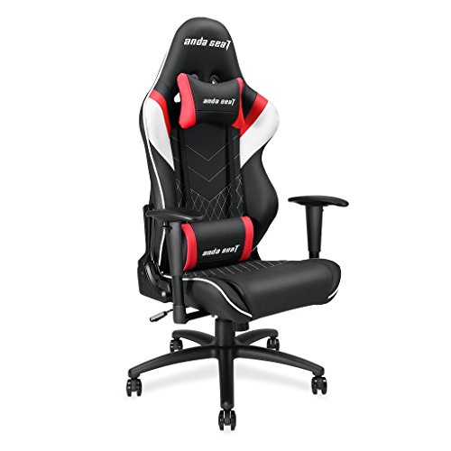 Anda Seat Assassin Series large size Gaming Chair,Ergonomic High-back Recliner Office Chair,Swivel Rocker Tilt E-sports Racing Chair with Height Adjustable,Lumbar Support and Pillow(Black/White/Red)