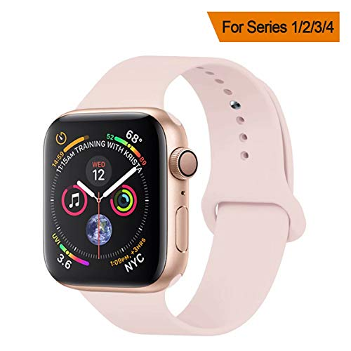 YANCH Compatible with for Apple Watch Band 38mm 40mm, Soft Silicone Sport Band Replacement Wrist Strap Compatible with for iWatch Nike+,Sport,Edition,M/L,Pinksand