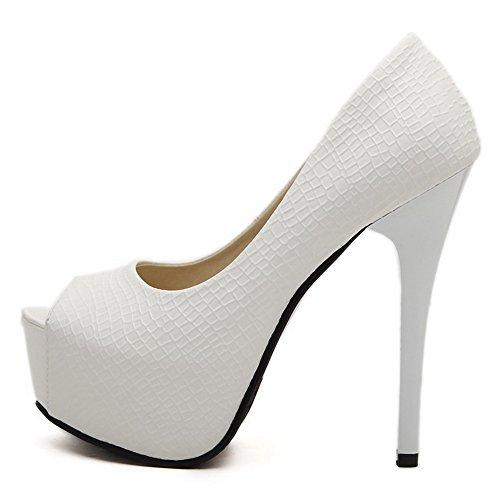 Allhqfashion Womens Spikes Stiletto Morbido Materiale Solido Tira Su Sandali Con Tacco Peep Toe Bianchi