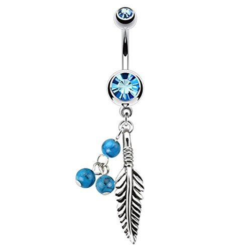 BodyJ4You Tribal Belly Button Ring Piercing Curved Barbell With Leaf Dangle Aqua Beads 14G Bar