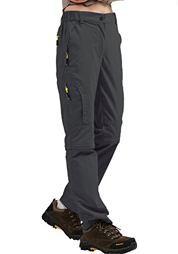Women's Convertible Athletic Quick Drying Lightweight Outdoor Hiking Travel Cargo Pants #4409,Grey,S,27-28