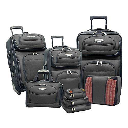 Travel Select Amsterdam Expandable Rolling Upright Luggage Set 8-Piece, Gray