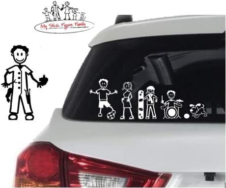 Official My Stick Figure Family Car Window Vinyl Sticker M7 Male Mechanic /& Tools