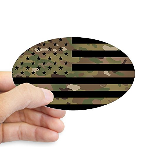 CafePress - U.S. Flag: Military Camouflage - Oval Bumper Sticker, Euro Oval Car Decal ()
