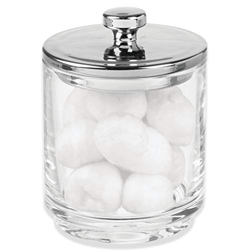mDesign Glass Bathroom Vanity Storage Organizer Apothecary Canister Jar Holder for Cotton Swabs, Rounds, Balls, Makeup Sponges, Bath Salts, Hair Ties, Makeup - Clear/Chrome