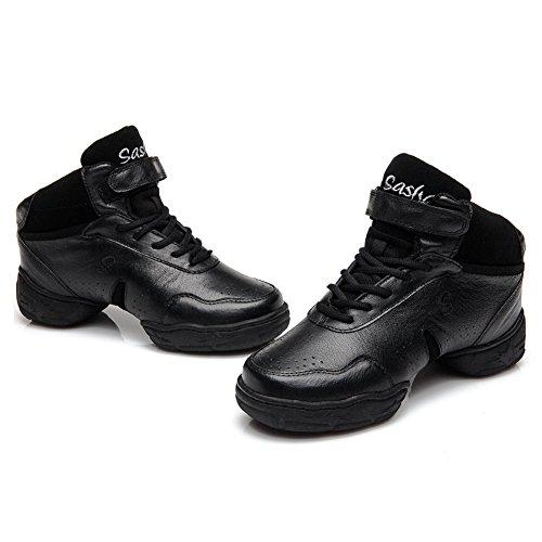 Roymall Menn Og Kvinners Lær Boost Dans Sneaker / Moderne Jazz Ballsal Ytelse Danse Joggesko Joggesko, Modell B51 / B52 / B53 Svart-2