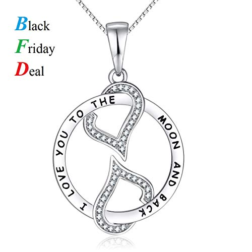 ZLDZ Mother's Day Gifts I Love You to the Moon and Back Love Heart Necklace, Jewelry for Women & Girls, Special Gifts for Girlfriend, Wife, Sister, Aunt, Grandma, Mom.
