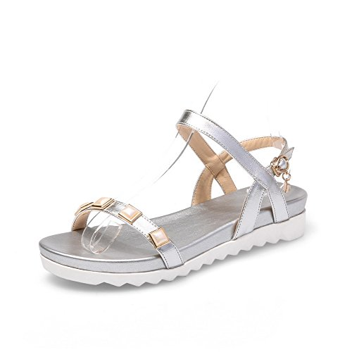 Buckle Leather Women's Cow Open Silver WeenFashion Heels Solid Low Sandals Toe wZtfRRqx