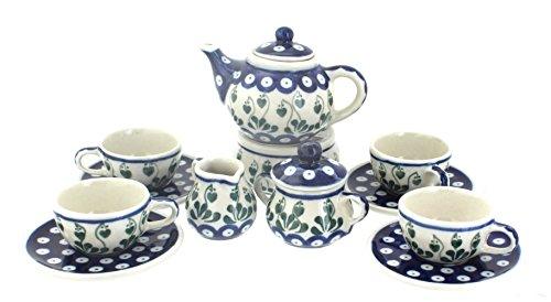 Blue Rose Polish Pottery Alyce Miniature Tea Set (Polish Pottery Miniature Tea Set)