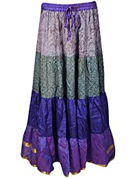 Womens Silk Maxi Skirt Vintage Recycled Sari Belly Dance Gypsy Full Flare Swirling Festival Skirts S/M/L