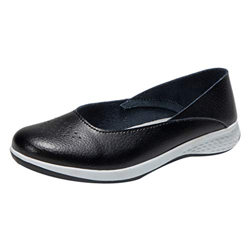 - Respctful✿Women Leather Loafers Casual Wide Width Slip On Flat Moccasins Soft Comfort Driving Walking Shoes Black