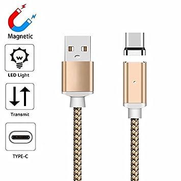 YANSHG® (1M/2M/3M Magnétique USBType C Câble Robuste Nylon tressé LED Charge & Sync Câble pour Google Pixel/Pixel XL, OnePlus 3T/5/5t, Samsung S9 S9 + S8 S8 Plus et Autres dispositifs de Type C.
