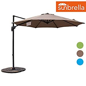 Sundale Outdoor 10ft Sunbrella Fabric Offset Hanging Umbrella Market Patio Umbrella Aluminum Cantilever Pole with Crank Lift, Corss Frame, 360°Rotation, for Garden, Deck, Backyard (Camel)
