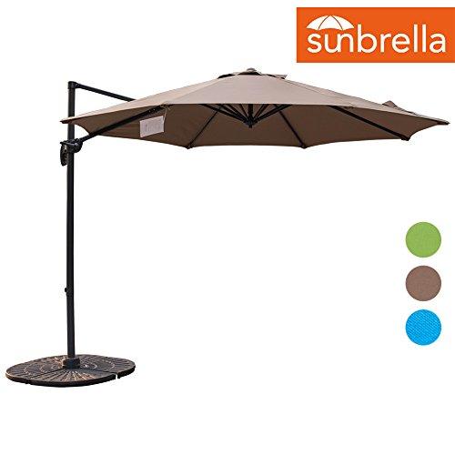 Sundale Outdoor 10ft Sunbrella Fabric Offset Hanging Umbrella Market Patio Umbrella Aluminum Cantilever Pole with Crank Lift, Corss Frame, 360°Rotation, for Garden, Deck, Backyard (Camel)