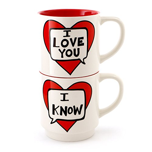 Enesco 4056350 I Love You I Know Stacking Stoneware Mug Set, 12 oz, Red