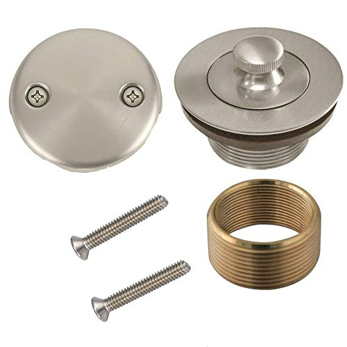 Bathtub Lift and Turn Tub Drain Conversion Kit Assembly Brushed Nickel