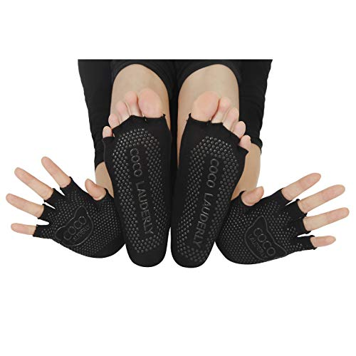 Yoga Socks And Gloves Non Slip Women - Toeless Pilates Ballet