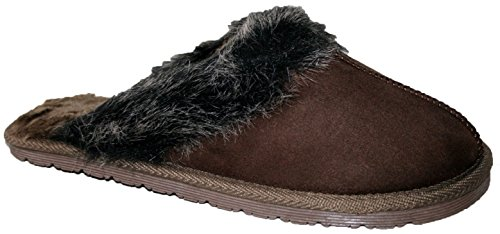 LADIES SLIP ON MULE SLIPPER WITH FUR LINING AND FUR COLLAR Brown Fur jRkEA6BVf
