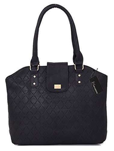 Detachable handle Design Top Pattern Kukubird Faux Black Straps Abella Leather Tote Shoulder Grid Quality High Handbag Two HwwP0OqC