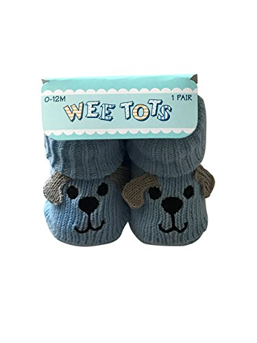 Boys Puppy Bootie (Wee Tots Sweater Knit Booties Baseball, Basketball or Puppy, Sz 0-12 months (Blue Puppy))