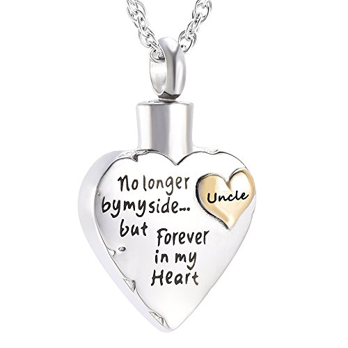 Double Heart No Longer by My Side .Memorial Keepsake Locket Ashes Urn Necklace for Mom&Dad&Grandpa&Grandma&Uncle&Aunt Cremation Jewelry (Uncle)