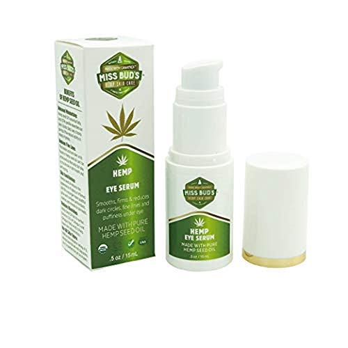 Miss Bud's Hemp Eye Serum Reduces Dark Circles and Puffiness Improve Elasticity Made with a blend of Pure Hemp Seed, Wheat Germ,