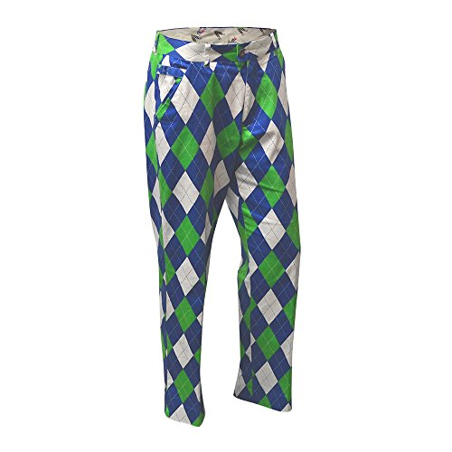 Royal & Awesome Men's Golf Pants, Blues on The Green, 36W x -