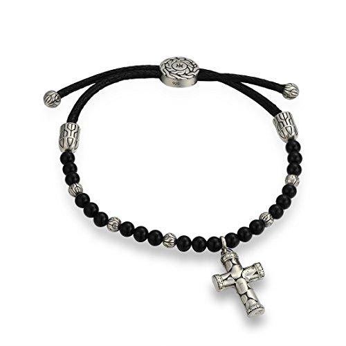 Black Bracelet Agate Silver (Santuzza Vintage Cross Adjustable Bracelet 925 Silver Black-Created Agate)