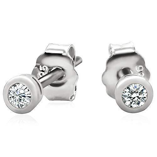 925 Sterling Silver Bezel Set Cubic Zirconia Stud Earrings, 2mm stone