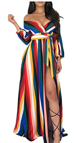 Shoulder Dress Neck Women's 1 Striped Sleeve Party Long V Belt Maxi Off Split Jaycargogo atgxqx