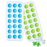 Ozera Ice Cube Trays, 2 Pack Silicone Ice Tray with Removable Lid, Easy-Release Stackable 42 Ice Cubes (Blue & Green)