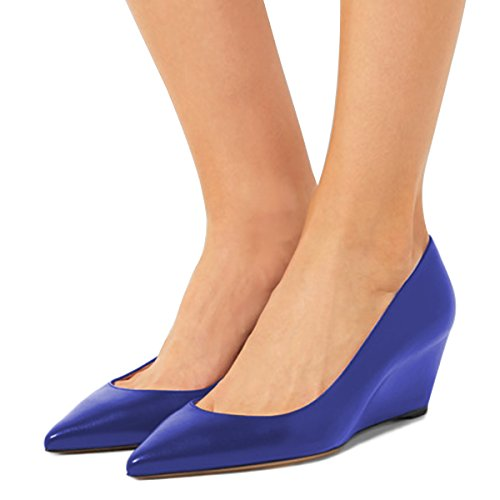 discount genuine really cheap shoes online FSJ Women Fashion Closed Toe Wedge Pumps High Heel Handmade Slip On Comfort Shoes Size 4-15 US Royal Blue buy cheap visit cheap 2014 unisex cw9Rz