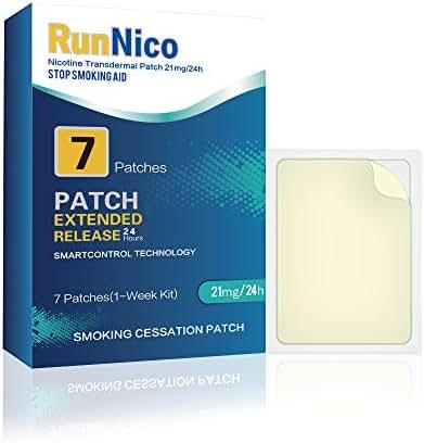 RunNico 21mg Nicotine Patches 7Pcs Step 1,2,3 Stop Smoking Aid,Nicotine Transdermal System,Smoking Cessation Products