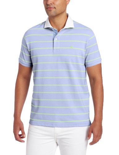 Dc Cotton Polo Shirt (LINCS DC & Co Men's Short Sleeve Pique Striped Polo, Pale Lilac, XX-Large)