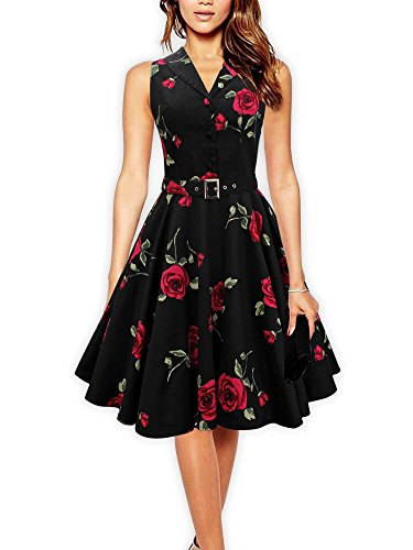 LUOUSE-Floral-Vintage-1950s-1960s-Rockabilly-Party-Cocktail-Swing-Dress