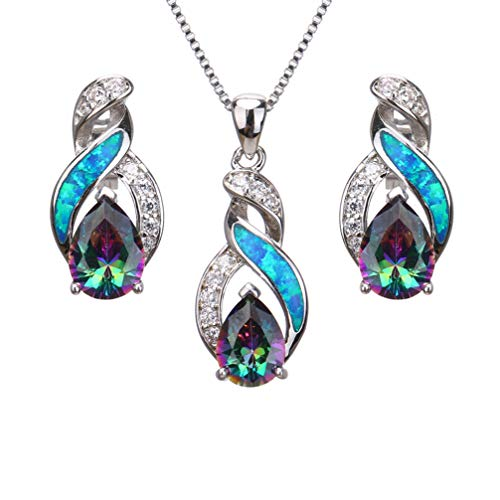 Hermosa Jewelry Sets Australian Opal Blue Sapphire Necklace Earrings Christmas Gifts (JS9)