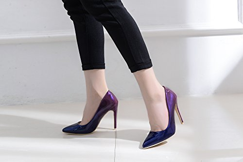 Stilettos Color Sparkles Pointed Women PUR BLUE Toe Embellished Mila Lady Fashion Sexy Dress Pumps High Slip Heel Contrast BONNIE08 Shoes On wqBpfO0
