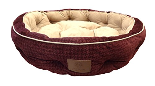 American Kennel Club Thermal Houndstooth Self Heating Memory Foam Pet Bed, 30X30X7, Burgundy Review