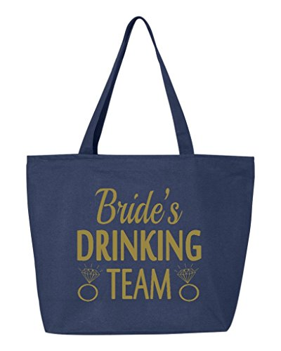 Shop4Ever Bride's Drinking Team Gold Heavy Canvas Tote with Zipper Wedding Reusable Shopping Bag 12 oz Navy 1 Pack (Bride Zipper)