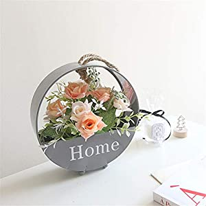 JruF Home English Alphabet Simulation Rose Flower Fake Flower Pot View Set Thick Hemp Rope Iron Round Wall Hanging Shape Decoration 111