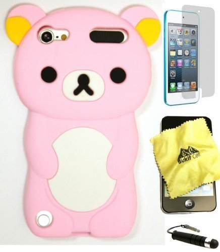 Bukit Cell 3D Cartoon Bundle 4 Items:Baby Pink Bear Soft Silicone Cute Lovely Fun Case for Ipod Touch 6th / 5th Generation + Cleaning Cloth + Screen Protector + Metallic Stylus Touch Pen