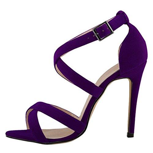 Oasap Estiletes Multi Púrpura Elegante Mujer al Correas Tobillo qfqrZpw47