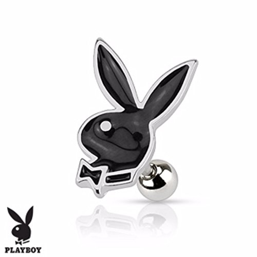 Playboy Bunny 316L Surgical Steel Cartilage/Tragus Barbell (Sold by - Earrings Mens Playboy