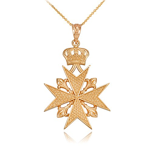 14k Gold Maltese Cross Russian Imperial Order Pendant Necklace (16)