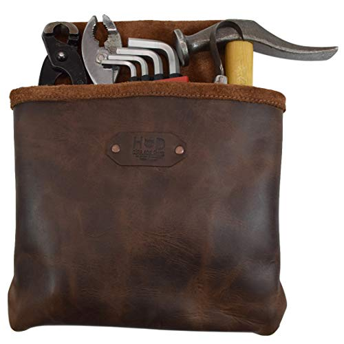 Soft Leather Tool Pouch - Leather Single Big Pocket Professional Nail/Tool Belt Bag for Constructor/Electrician / Plumber Handmade by Hide & Drink :: Bourbon Brown