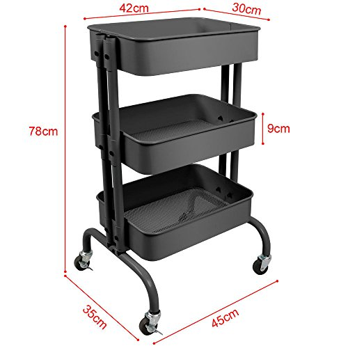 NEW Gray 3-Tier Kitchen Rolling Storage Trolley Cart Utility Serving With Casters Office Bedroom Hallway - Frames Bamboo Glasses Australia
