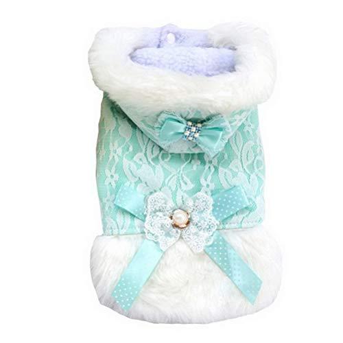 RSHSJCZZY Winter Pet Vest Coat Princess Lace Hooded
