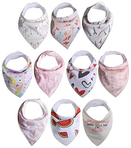 Baby Bandana Drool Bibs for Drooling and Teething, 100% Organic Cotton, Soft and Absorbent,10-Pack Hypoallergenic Unisex Bibs for Baby Boys & Girls - Baby Shower Gift Set Girls By Mathias